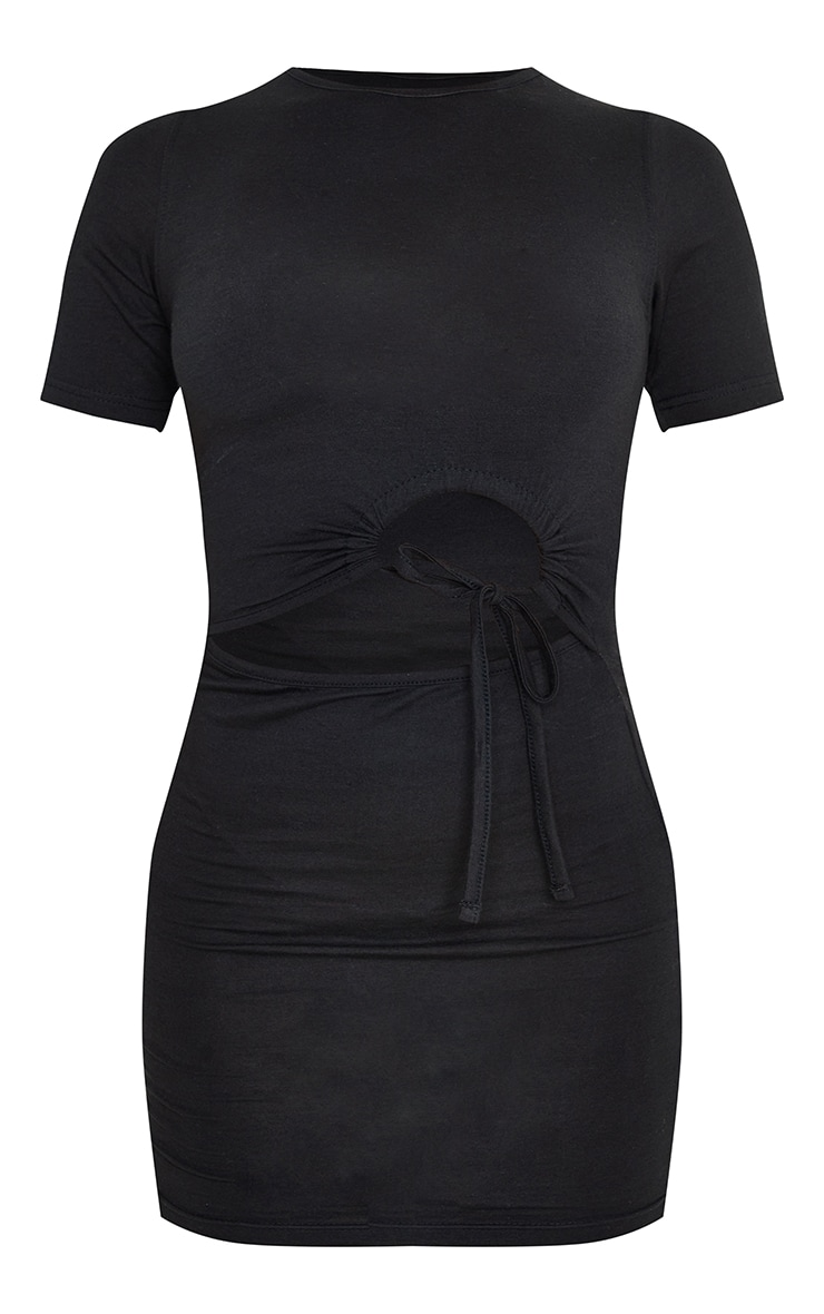 Black Cotton Ruched Cut Out Short Sleeve Bodycon Dress 5