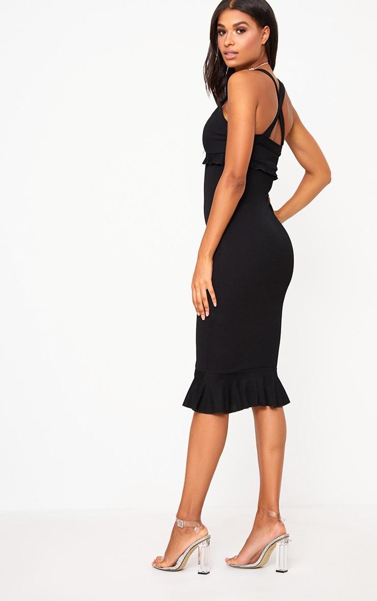 Black Frill Detail Midi Dress 2