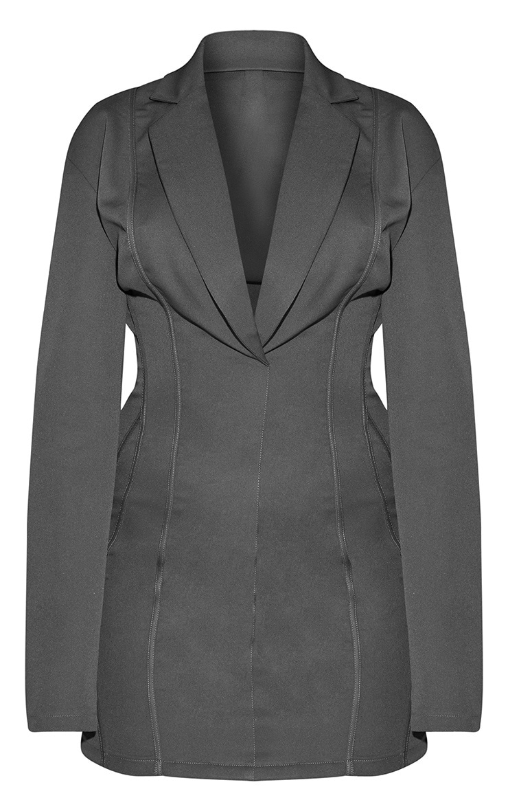 Grey Fitted Seam Blazer Dress 3