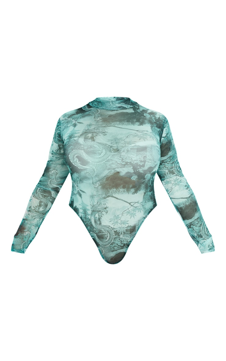 Plus Emerald Green Dragon Printed Mesh High Neck Long Sleeve Bodysuit 3