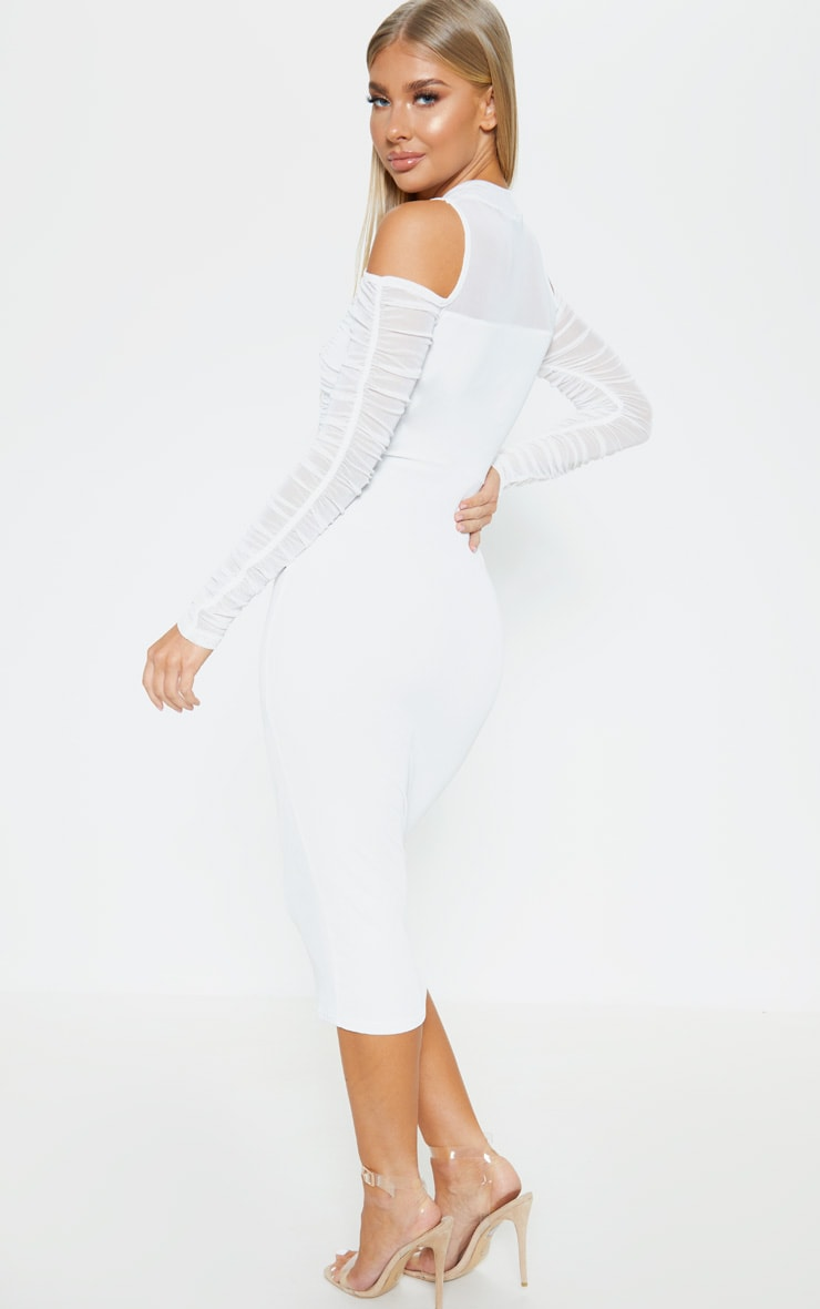 White Cold Shoulder Ruched Sleeve Midi Dress 2