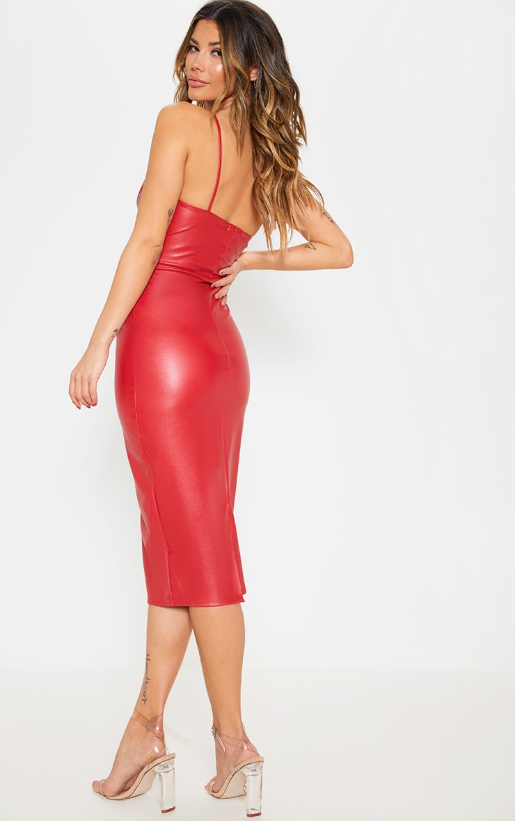 Red Faux Leather One Shoulder Cut Out Midi Dress 2