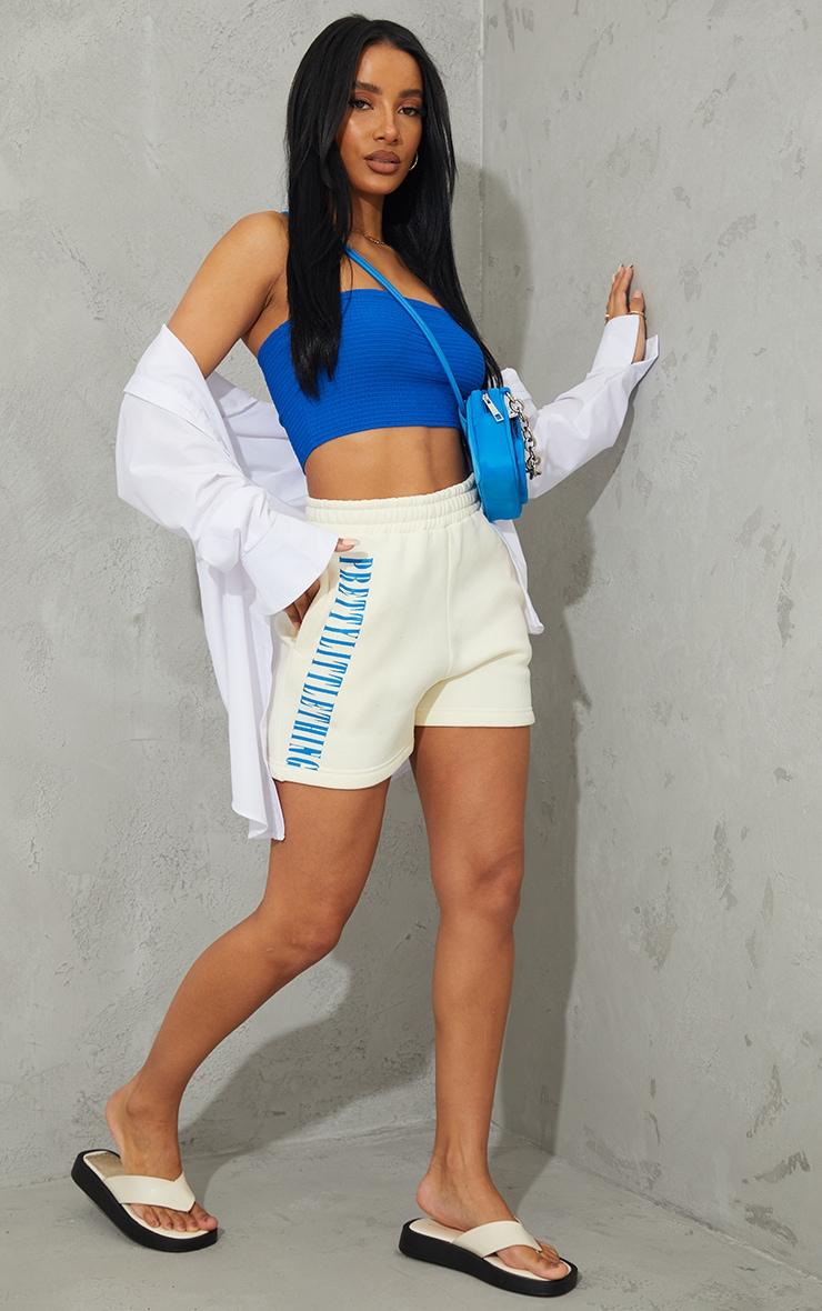 PRETTYLITTLETHING Cream Vertical Sweat Shorts 4
