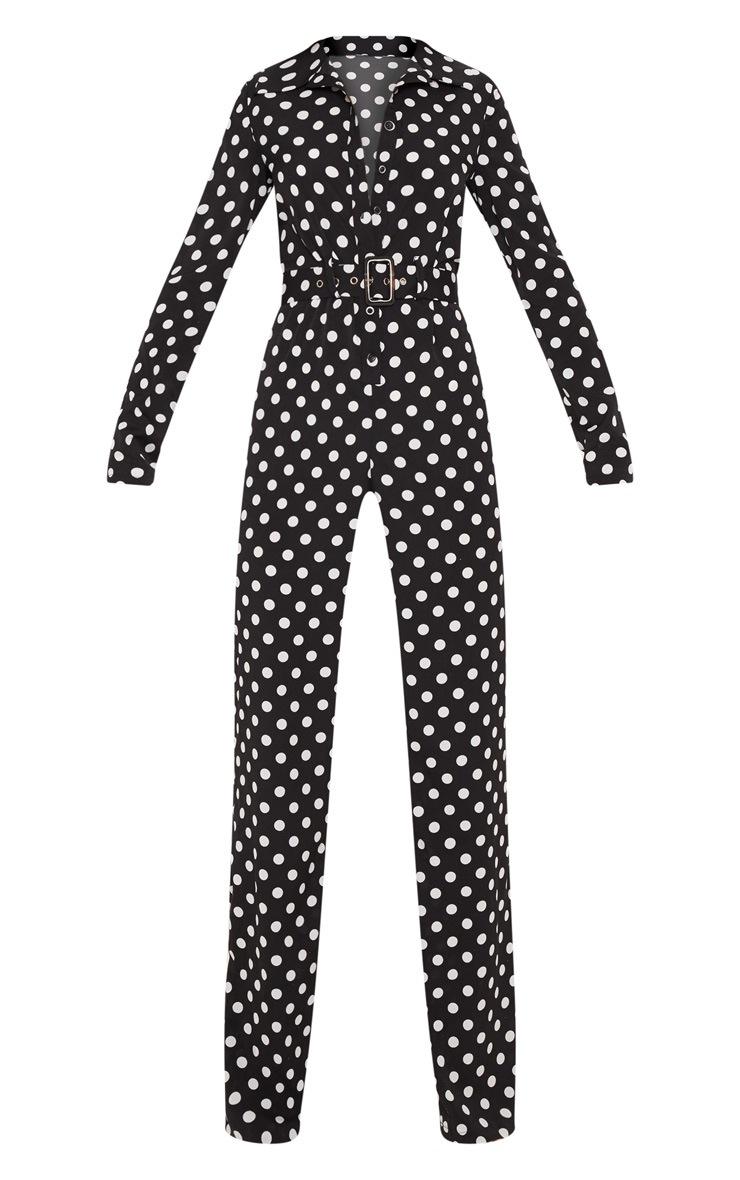 Black Satin Polka Dot Button Front Straight Leg Jumpsuit 3