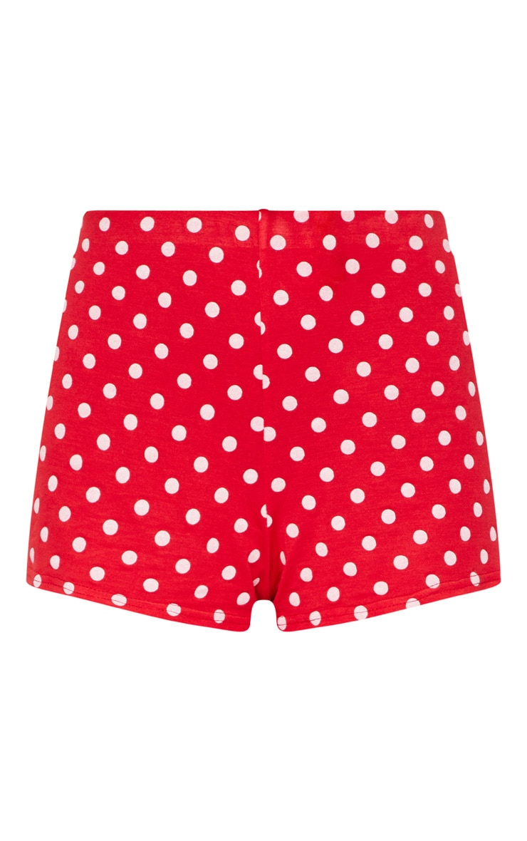 Red Polkadot Jersey Flared Sleeve Tie Crop Top 4