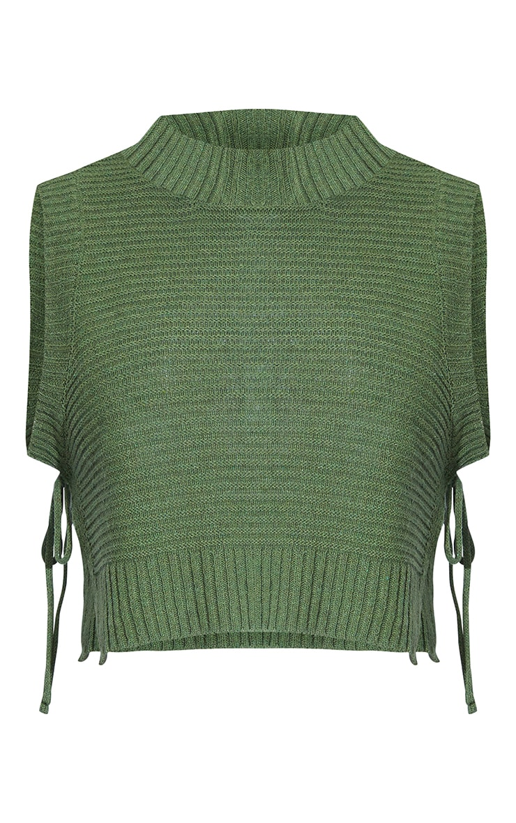 Khaki Tie Side Knitted Slouchy Top 5