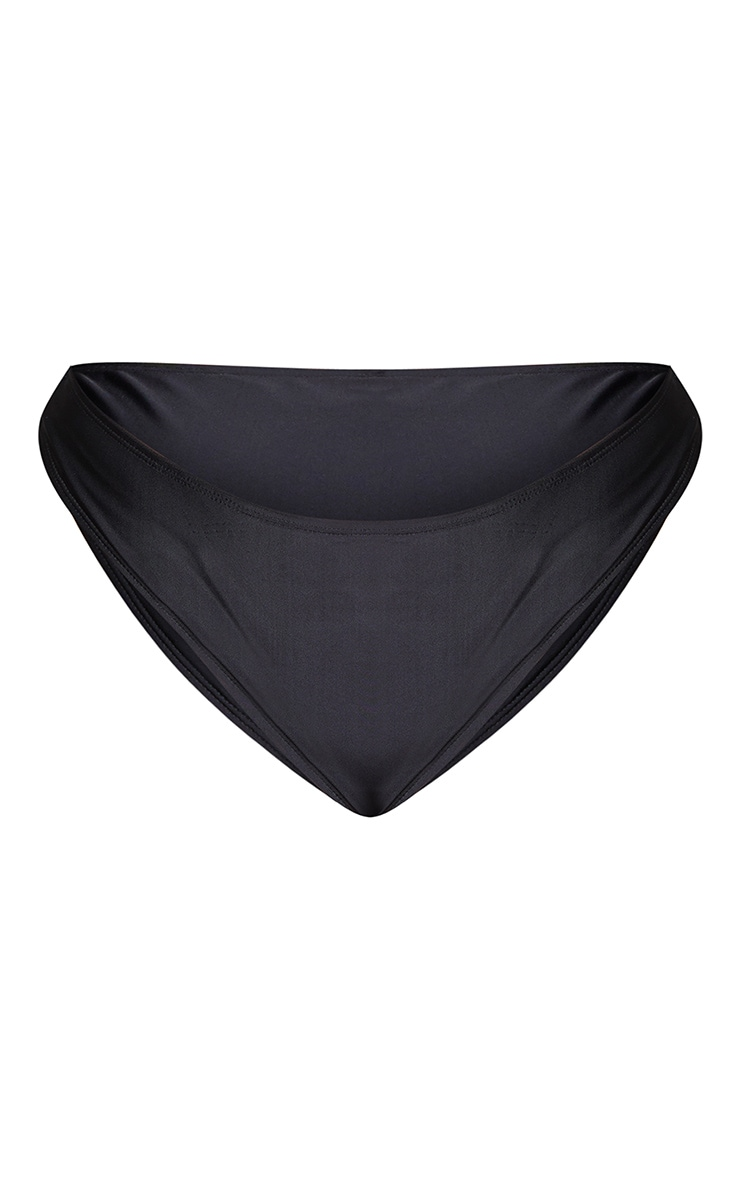 Plus Black High Leg High Waist Bikini Bottoms 5