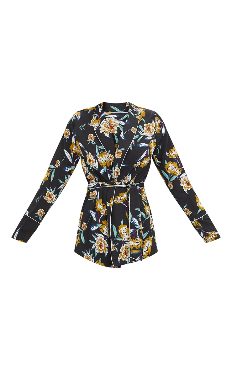 Black Contrast Piping Floral Jacket 3