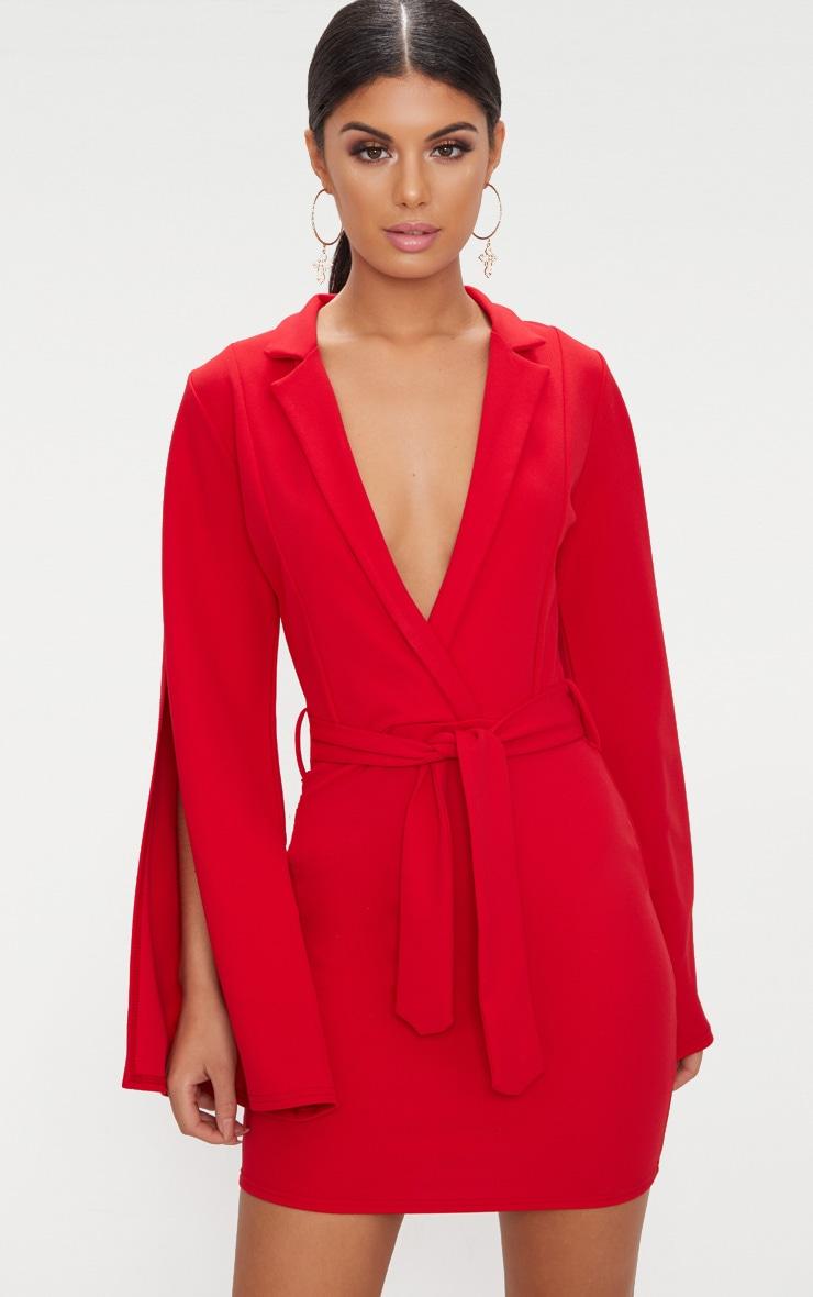 Red Split Sleeve Blazer Dress  1