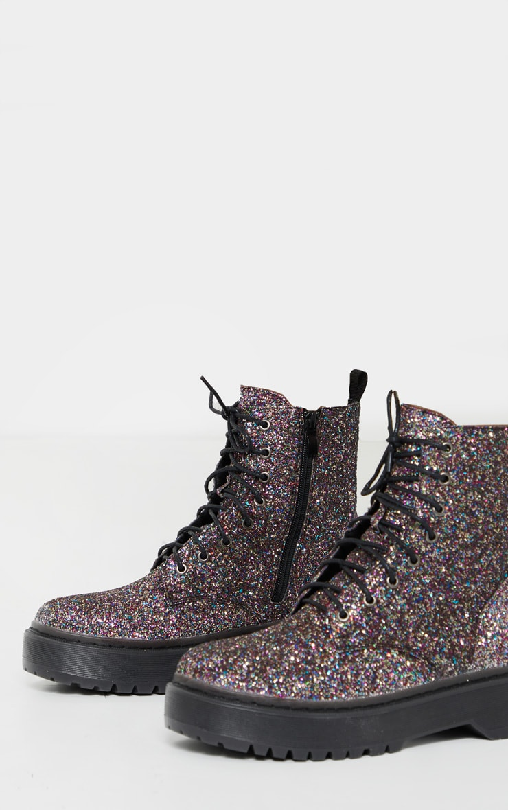 Silver Glitter Lace Up Chunky Ankle Boots 4