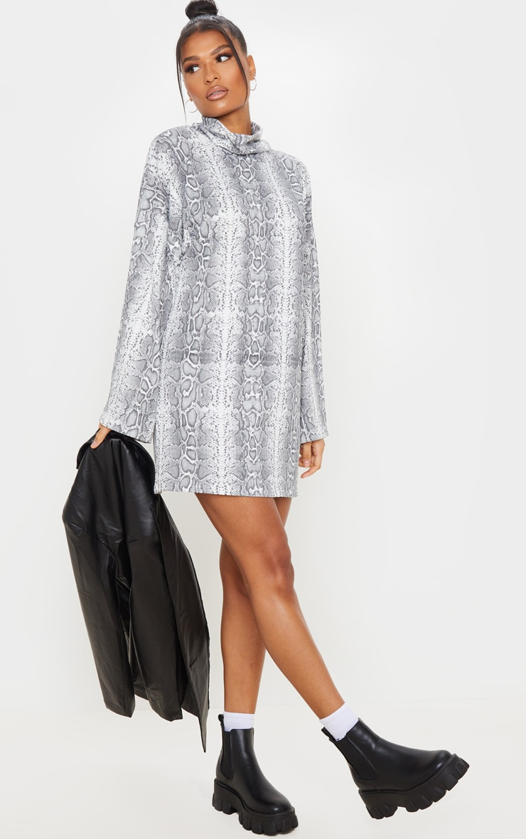 Grey Snake Print Rib Flare Sleeve Jumper Dress 3