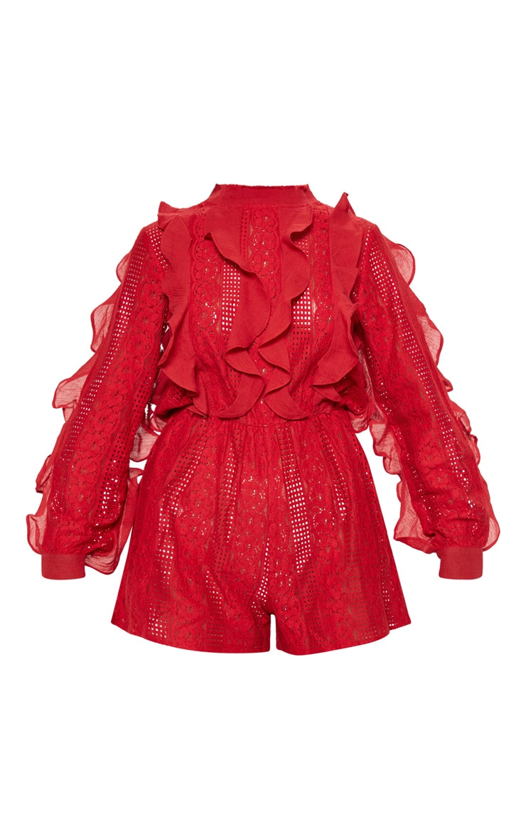 Red Lace Frill Detail Long Sleeve Playsuit 3