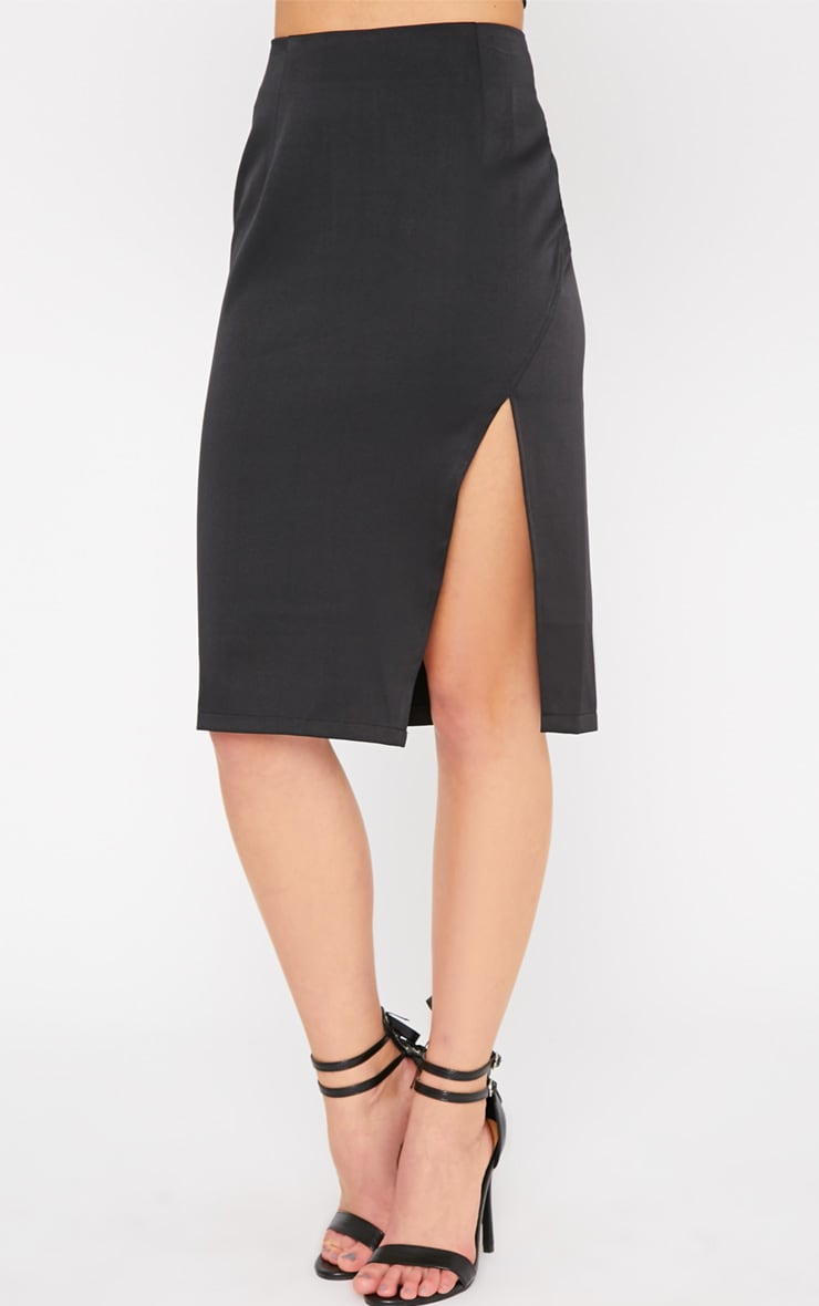 Ginny Black Slit Midi Skirt  4