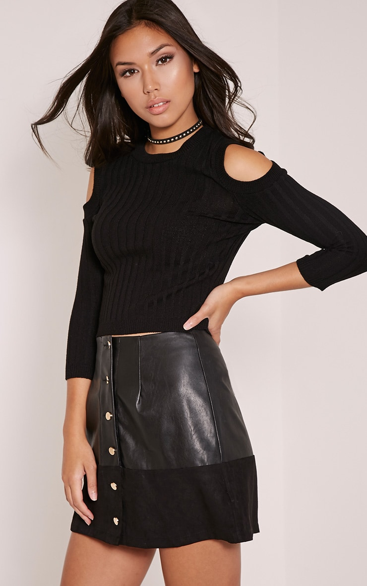 Hella Black Cold Shoulder Crop Jumper 1