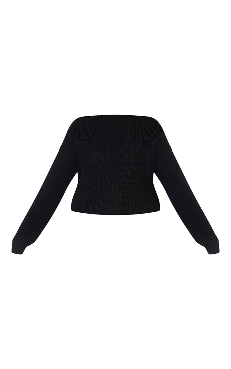 PLT Plus - Pull court tricoté noir à col large 5