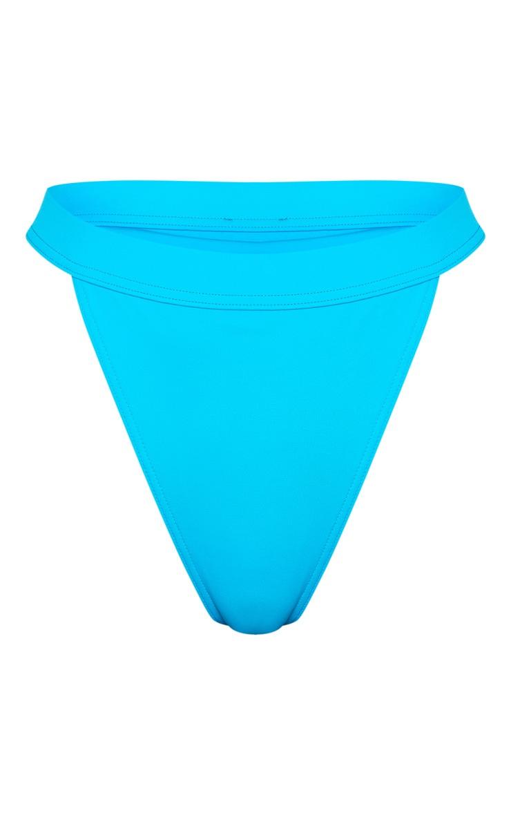 Haut de maillot de bain manches courtes turquoise à noeud 3