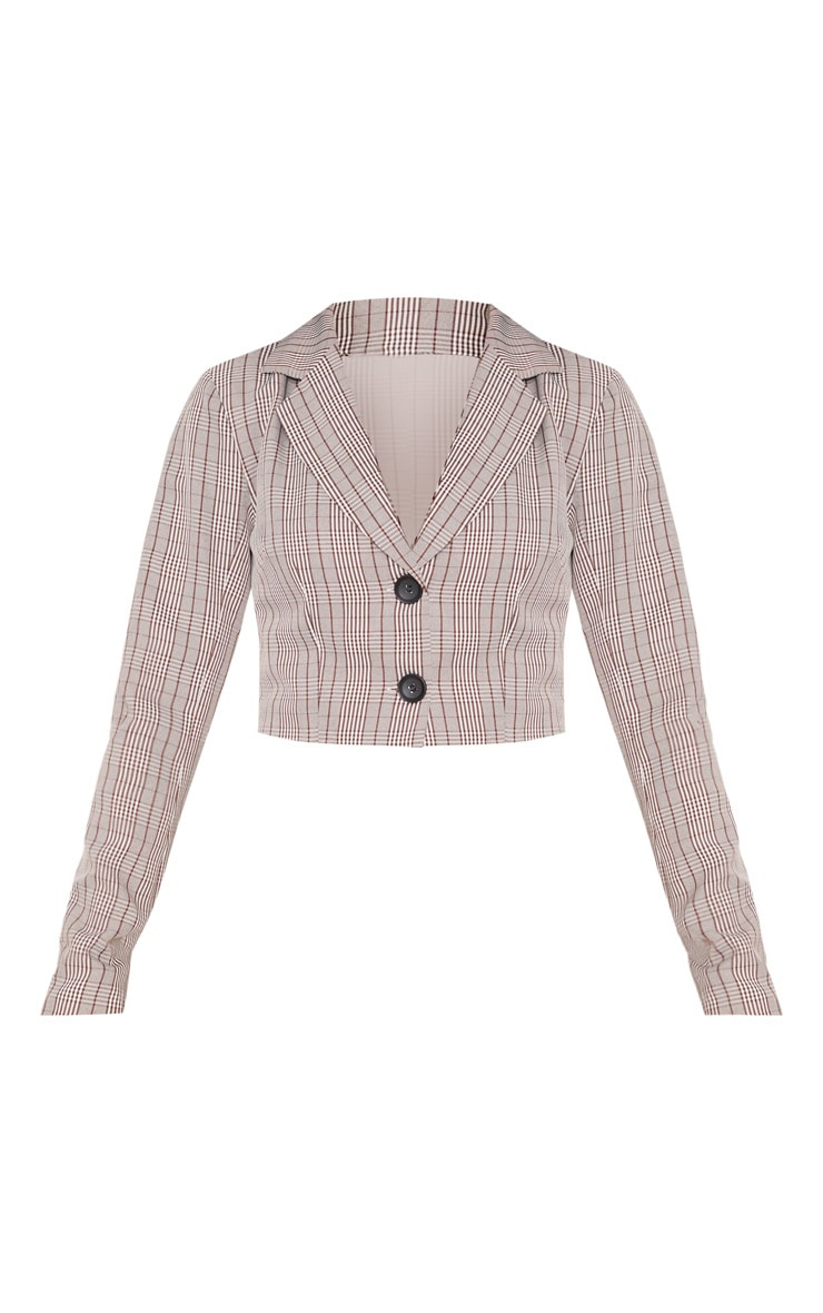 Brown Check Cropped Blazer Top 4