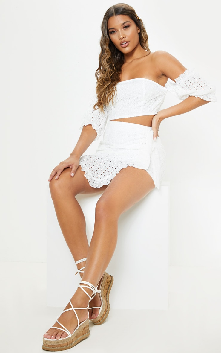 White Broderie Anglaise Bardot Tie Back Crop Top 4
