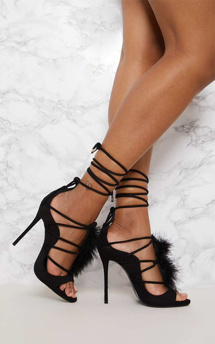 Black Feather Ghillie Tie Sandal