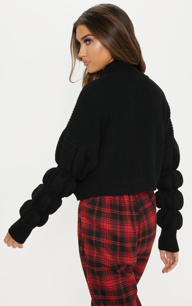 Black Bubble Sleeve Knitted Sweater  2