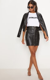 5177bfd870e Black Faux Leather Stud Detail Belted Mini Skirt. Skirts ...