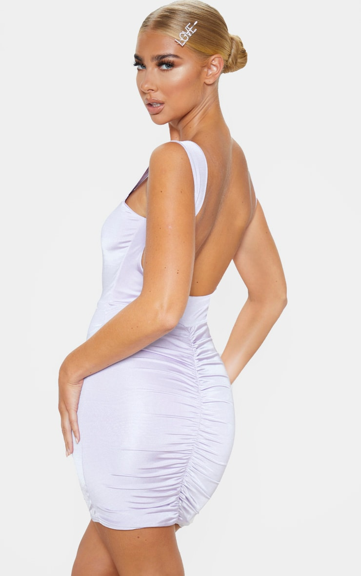 Lilac Metallic Slinky Ruched Back Bodycon Dress 1
