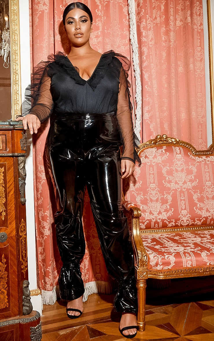 Plus Black Vinyl Lace Up Trouser 1