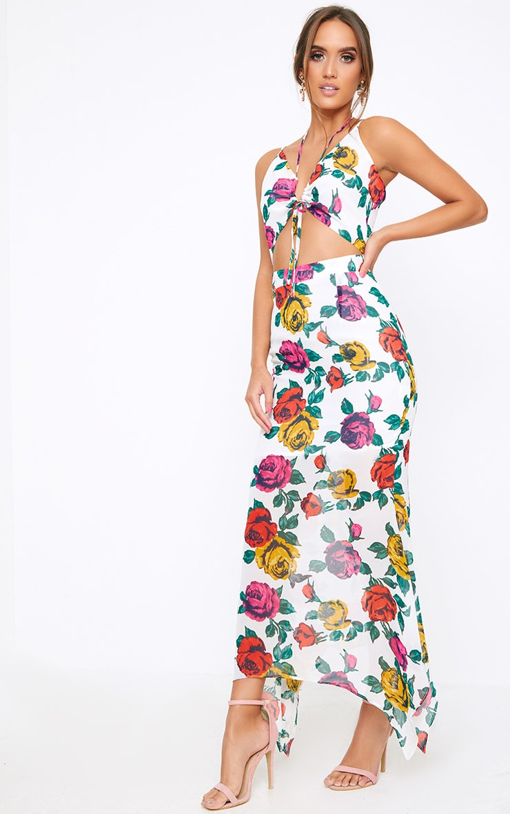 White Floral Cut Out Maxi Dress 1