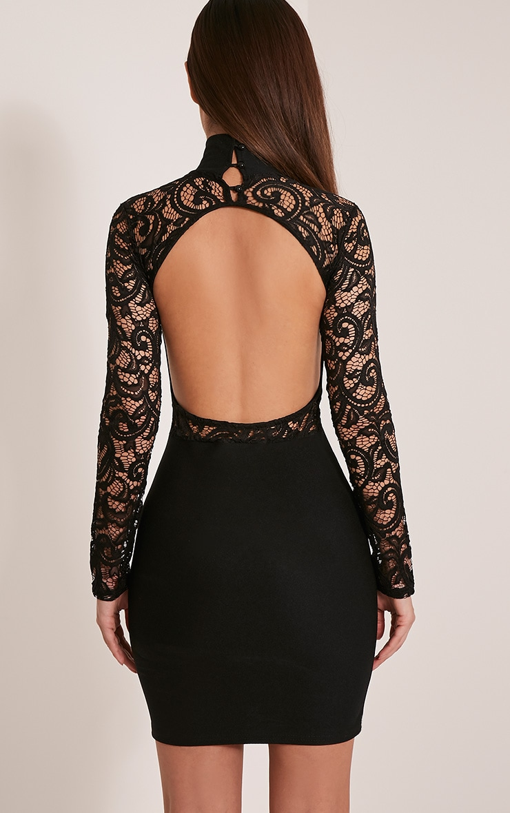 Bethenny Black Cut Out Back Lace Insert Bodycon Dress 2