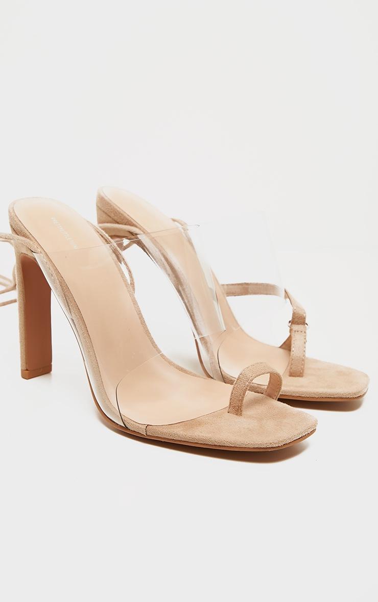Nude Clear Ankle Tie Toe Loop Sandal 4