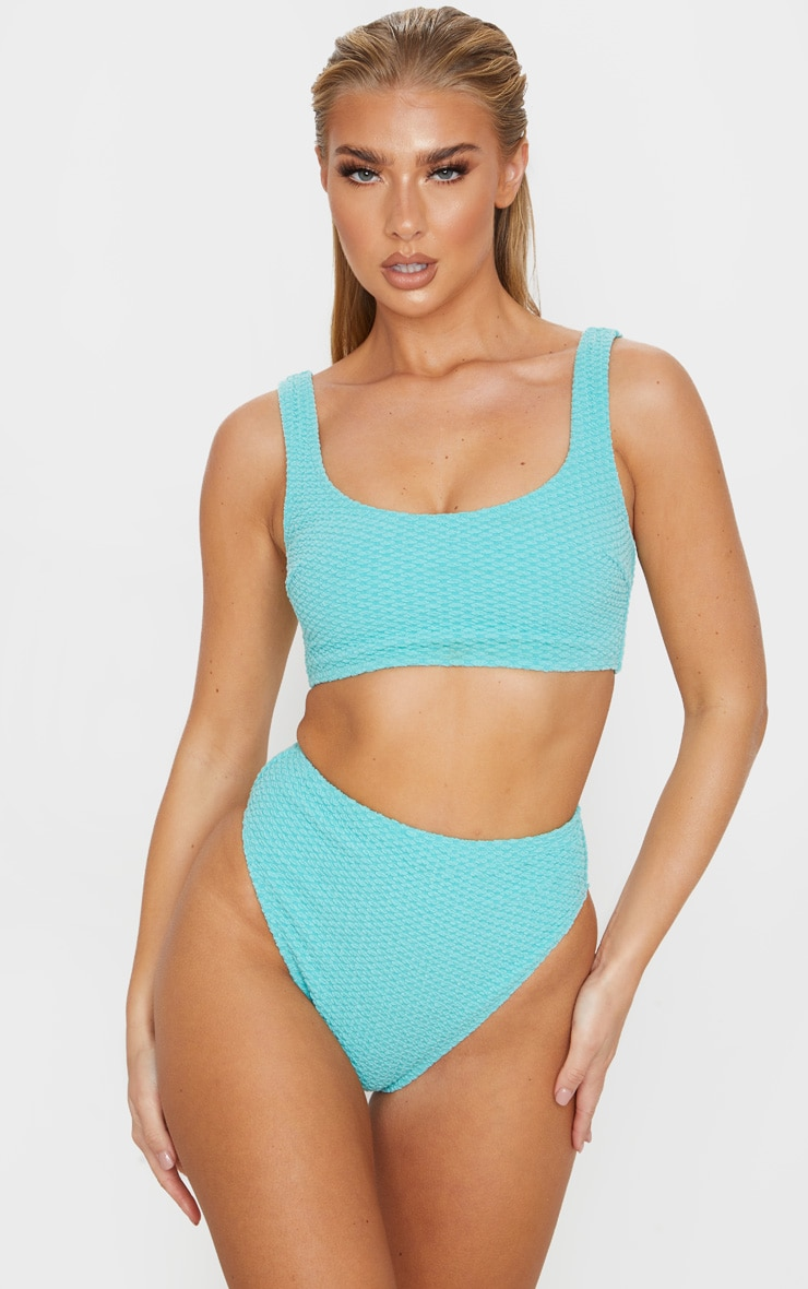 Dusky Turquoise Bubble Textured Scoop Neck Bikini Top 1