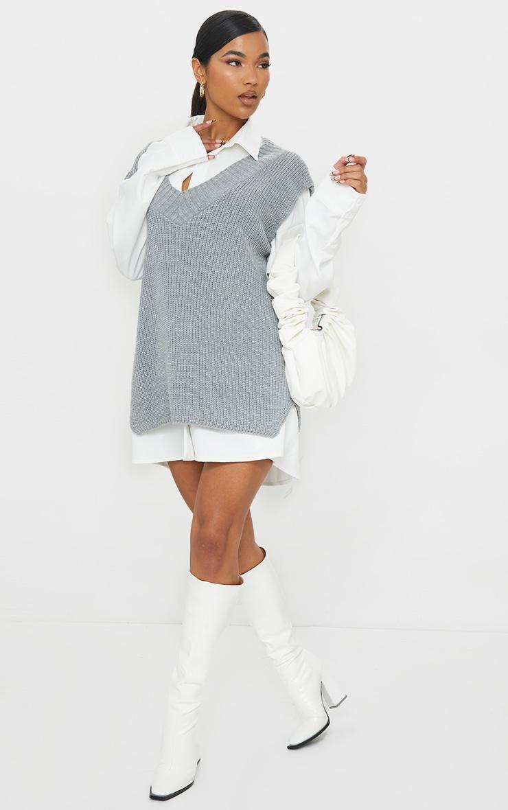 Grey V Neck Knitted Side Split Vest 1