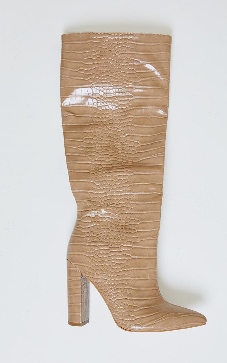 Nude Knee High Point Block Heel Boots 3