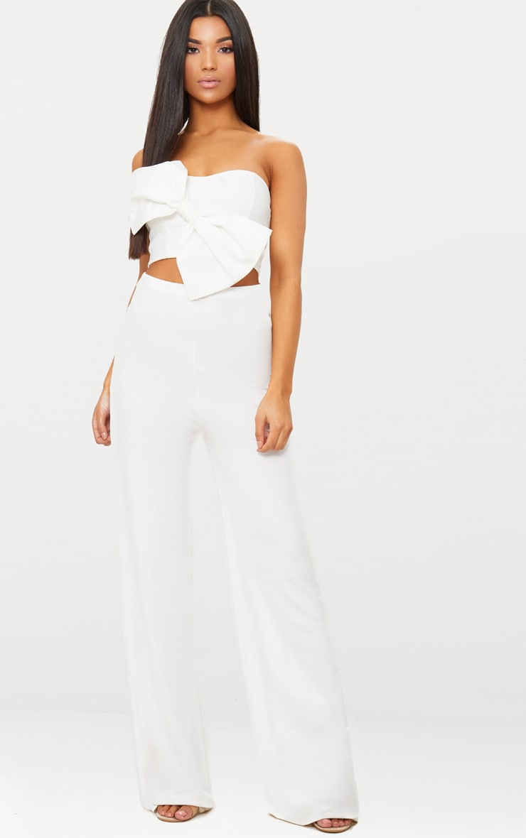 White Bow Front Bandeau Crop Top 4