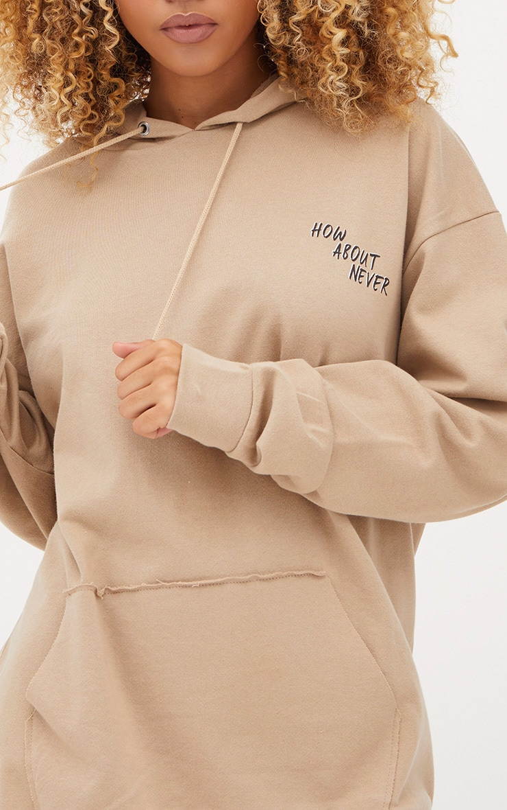 Taupe How About Never Slogan Oversized Hoodie  5