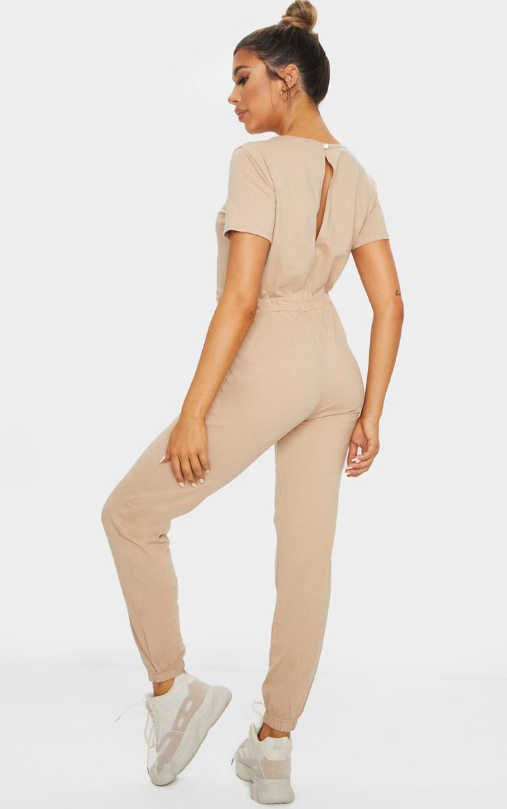 Stone Cotton Elastane Short Sleeve Jumpsuit 2