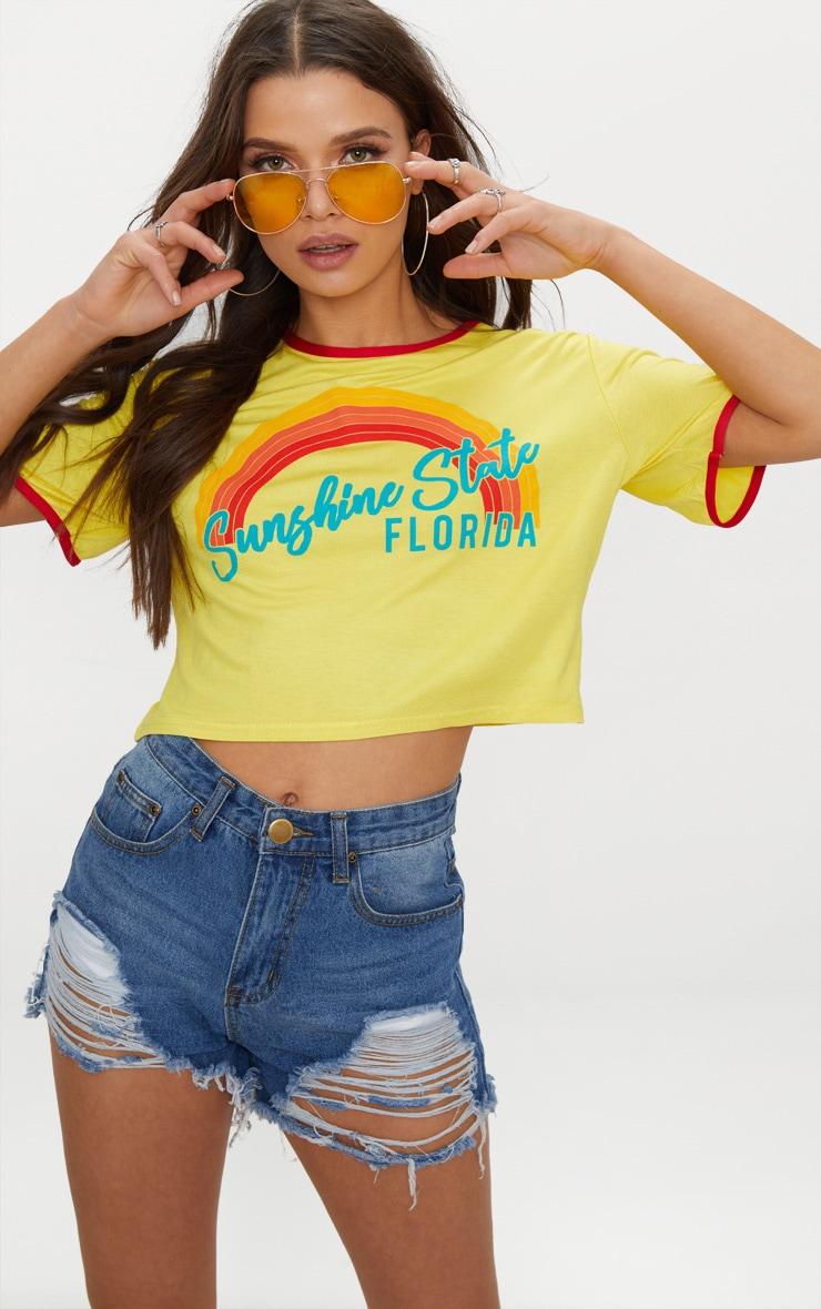 Yellow Sunshine State Printed Crop T Shirt 1