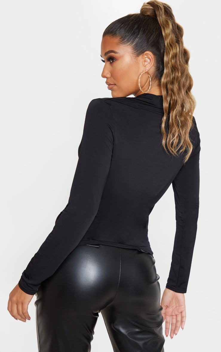 Black Slinky Long Sleeve Shirt 2