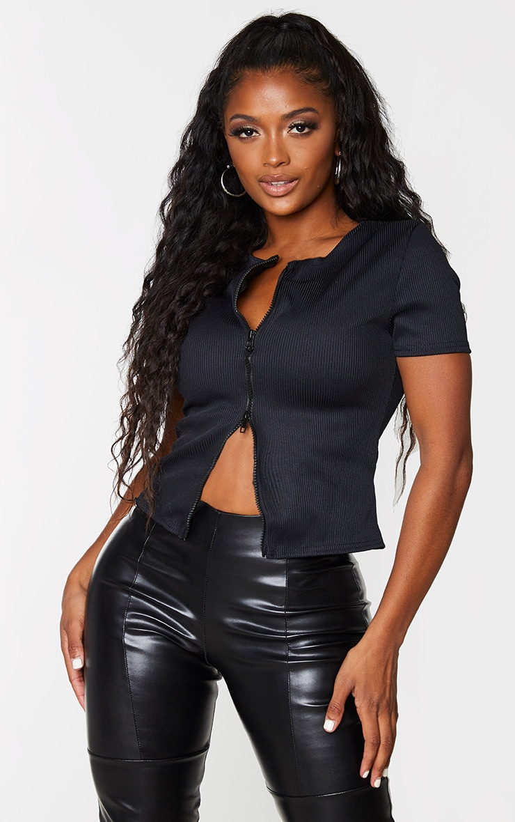 Shape Black Jumbo Rib Zip Detail Short Sleeve Crop Top 1