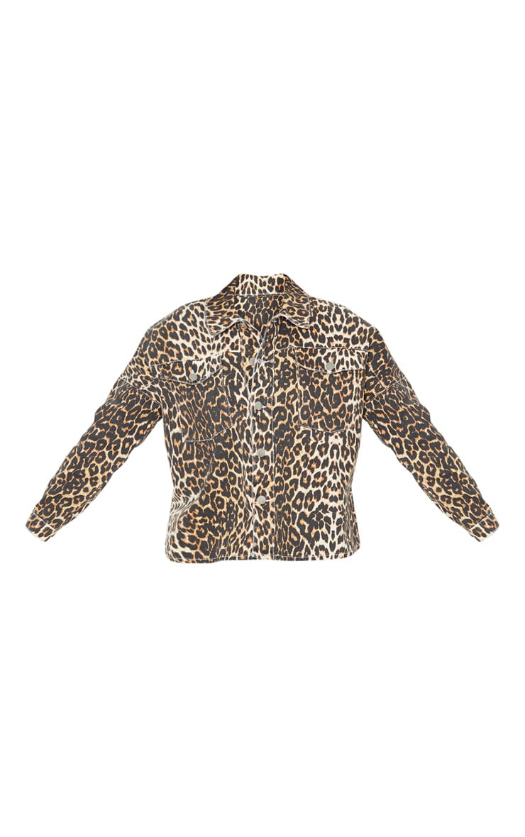 Petite Tan Leopard Oversized Denim Shirt 3
