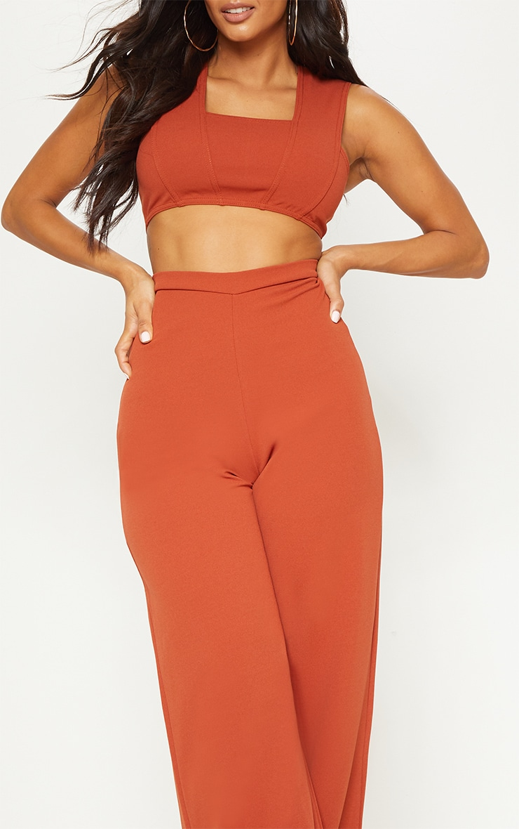 Rust Crepe Cut Out Jumpsuit 5