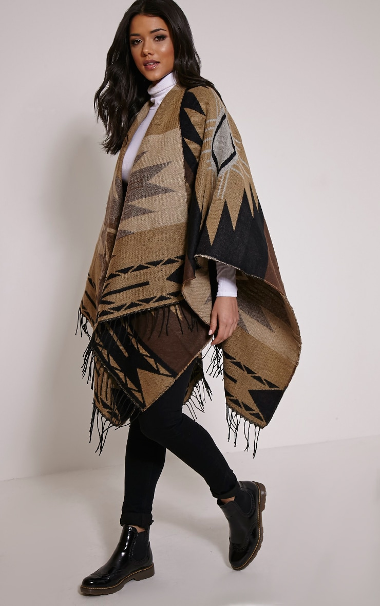 Isabella Brown Aztec Knit Poncho 1