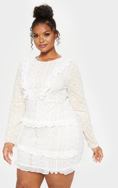 4bea4a4cc924 Plus White Lace Embroidered Frill Shift Dress PrettyLittleThing Sticker