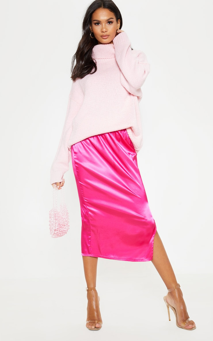 Hot Pink Satin Side Split Midi Skirt 2