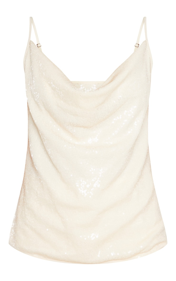 Cream Cowl Neck Sequin Cami 3