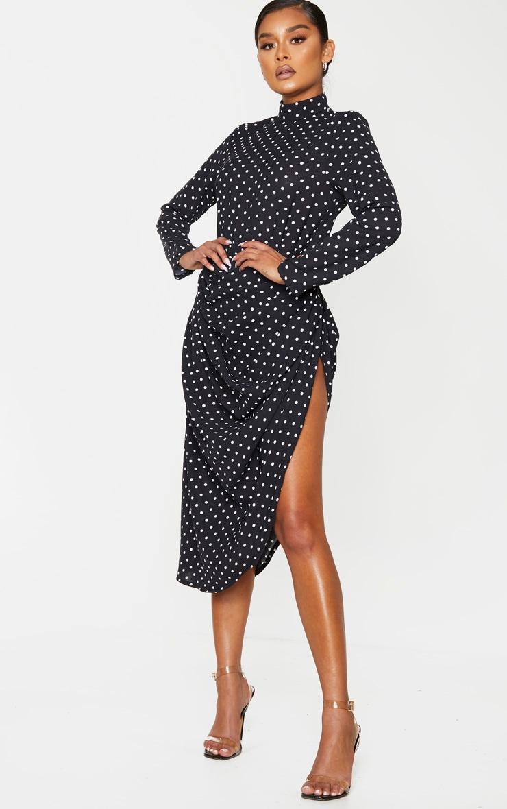 Black Polka Dot Split Side Midi Skirt 1
