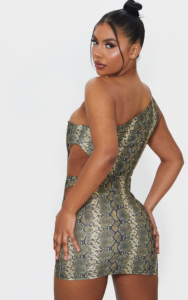 Brown Snake Print One Shoulder Cut Out Bodycon Dress 2