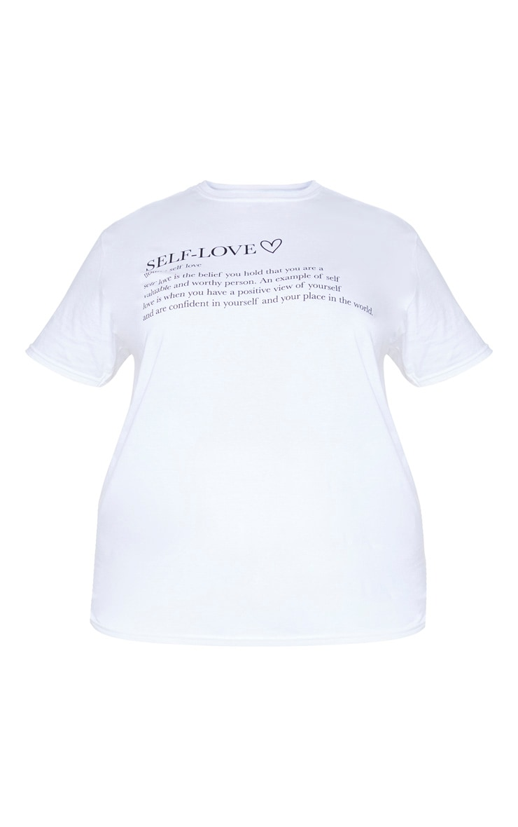 Plus White Self Love Slogan Front T-Shirt 5