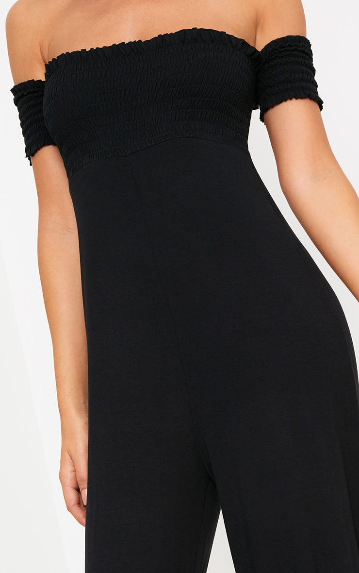 Black Bardot Shirred Jumpsuit 5
