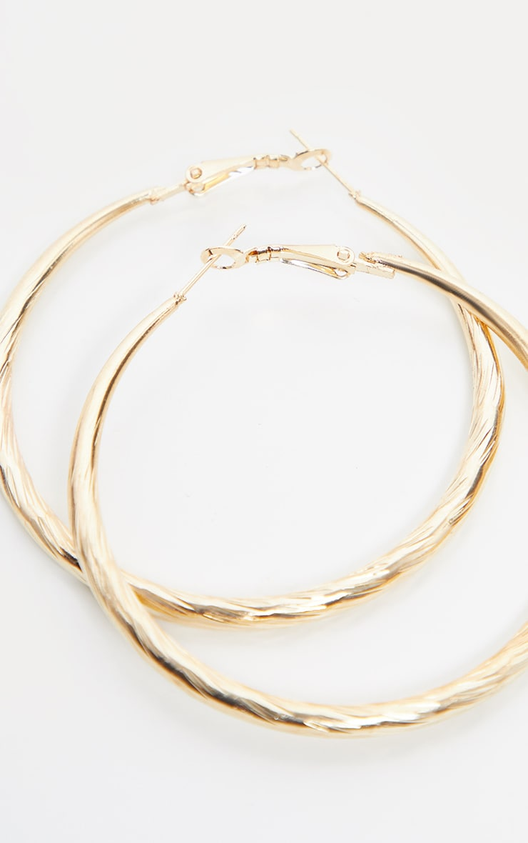 Gold Rope Texture Hoops 1